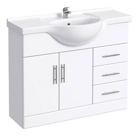 Alaska 1520mm Vanity Unit Bathroom Suite (High Gloss White - Depth 330mm) Standard Image