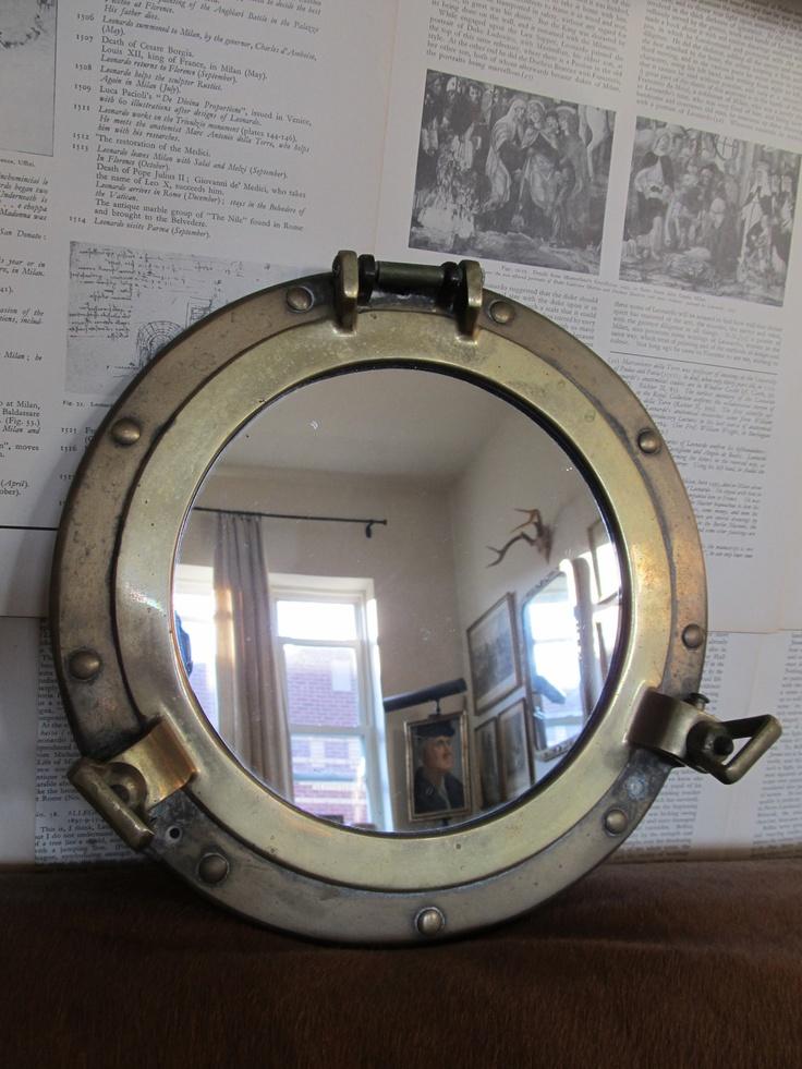 vintage brass nautical port hole mirror