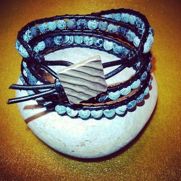 SemiPrecious Bracelet - MATTE DREAM FIRE DRAGON VEINS AGATE/Triple