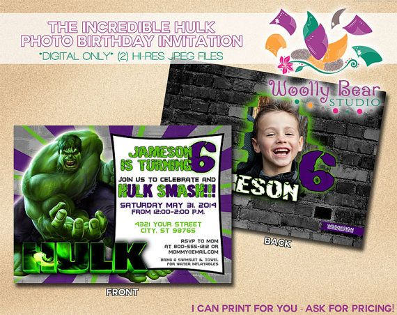 Printable Incredible Hulk Birthday Invitation with Photo