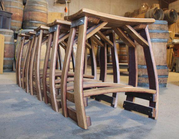 Wine Barrel Stool Patio Stool Outdoor Stool Bar by BarrelArtLLC