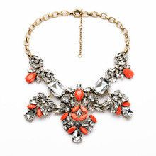 Hot Sale Free Shipping Costume Crystal Choker Necklace Orange & Blue Fashion Necklaces For Women 2014