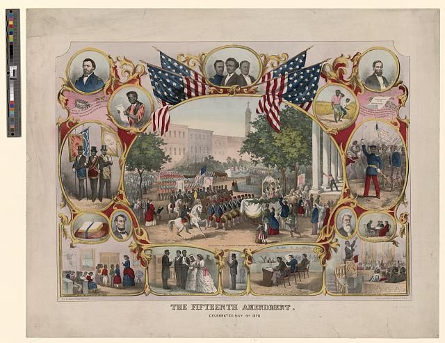 This is a picture of the 15th Amendment. Celebration on May 19th, 1870. I chose this picture because the 15th Amendment prohibits the federal and state governments from denying a citizen the right to vote based on that citizen's race, color, or if they were previously a slave.