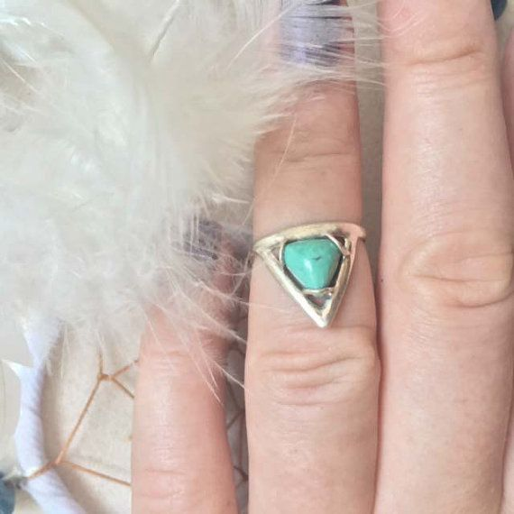 Natural Turquoise Ring, Sterling Silver Ring, Midi Ring, Chevron Ring, Aztec Ring, Cute Rings, Small Ring, Boho Rings, Don Biu / $56