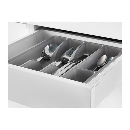 "SMÄCKER Flatware tray, gray, 12x10x2"", $0.99"