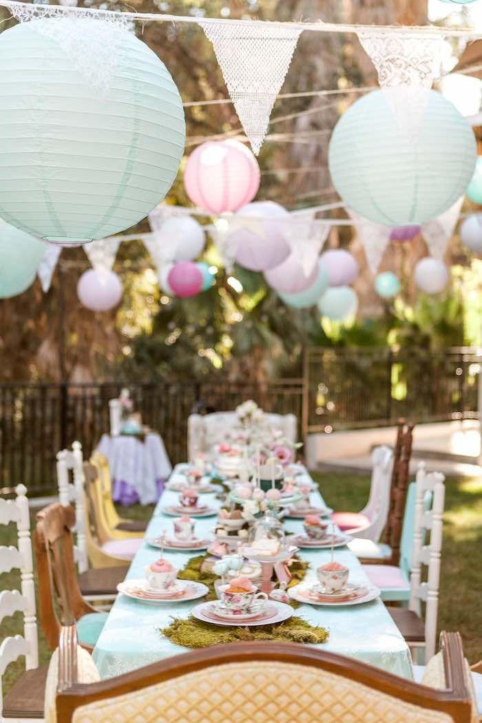 Dining Table from a Shabby Chic Alice In Wonderland Birthday Party via Kara's Party Ideas KarasPartyIdeas.com (50)