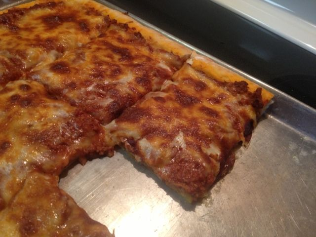 Cafeteria school lunch pizza. Remember?!