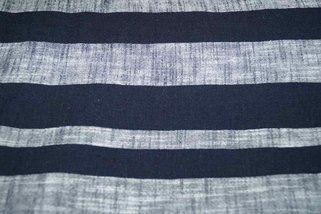 KN17 13534-600 Linnen streep donkerblauw