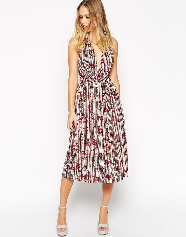 ASOS+Pretty+Floral+Pleated+Plunge+Dress