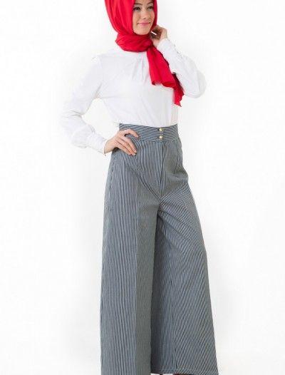 The Kendira Pantolon Etek P1995-9 Lacivert Beyaz