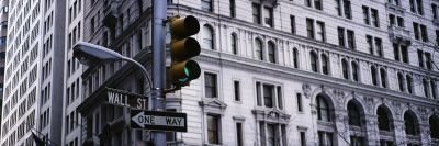 Traffic Light in Front of a Building, Wall Street, New York, USA Decalcomanie da muro