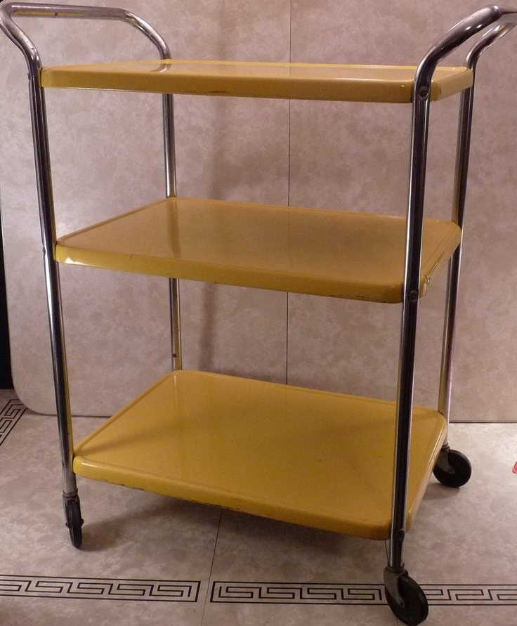 Vintage Mid Century Industrial Bright Yellow Cosco 3 Tier Rolling Kitchen  Cart. $82.00, Via