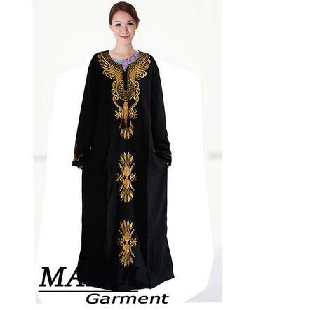 1pcs/lot free shipping Muslim black abaya islamic clothing for women embroidery dubai kaftan robe dress turkish abaya