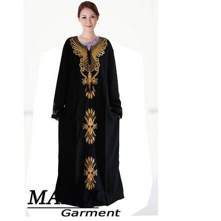 1pcs/lot free shipping Muslim black abaya islamic clothing for women embroidery dubai kaftan robe dress turkish abaya