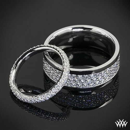 18k White Gold Diamond Earring Jackets–(0.50ctw white diamonds); made to fit 1.00ct center stud