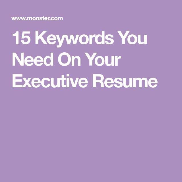 The 25+ best Executive resume ideas on Pinterest Executive - keywords on resume