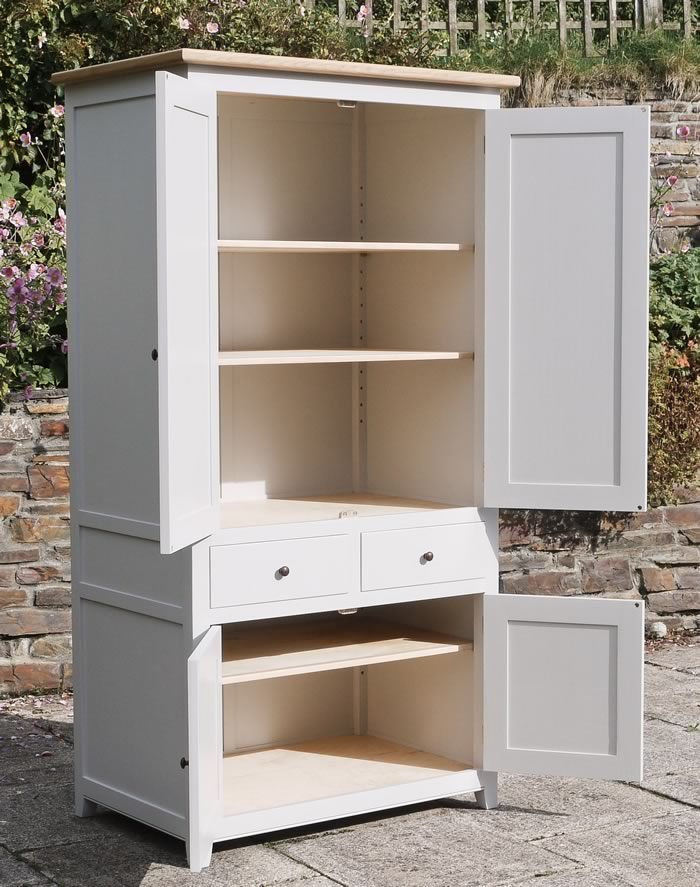 Larder Cupboard - hardwood frame (hand painted with farrow and Ball Estate Eggshell), oak cornice and drawer sides and hand turned walnut knobs.
