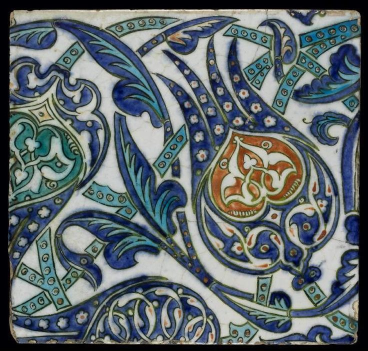 Maker: Unknown; potter Category: fritware (stonepaste) Name(s): tile Islamic pottery; category Iznik style; category Date: circa 1550 — 1599 School/Style: Ottoman Period: second half of 16th century