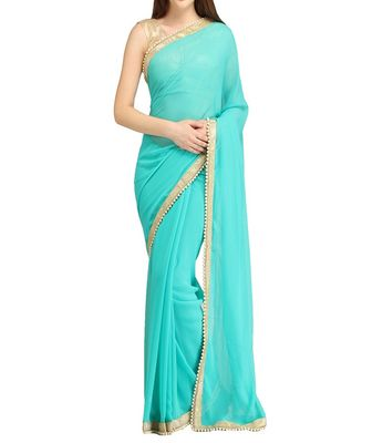 Georgette Firozi Coloured Designer Sarees For Farewell Party 01 Sarees