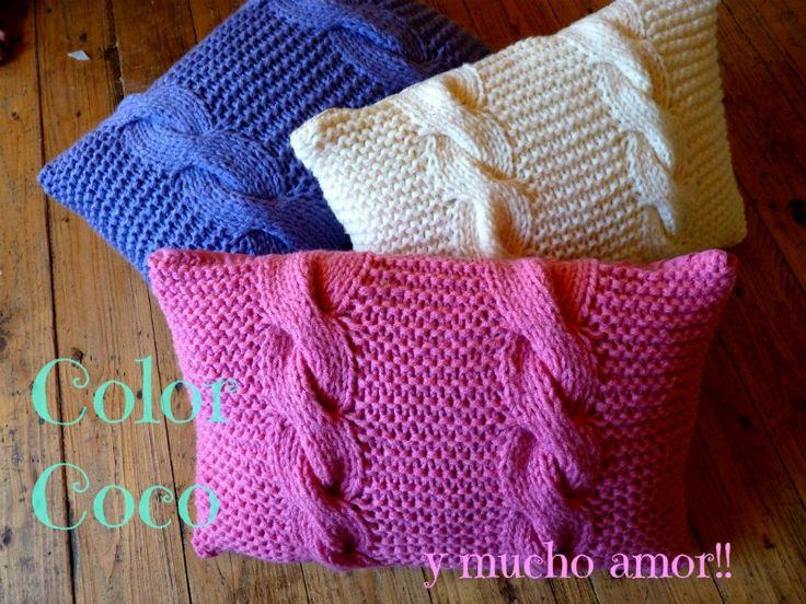 almohadones tejidos Color Coco
