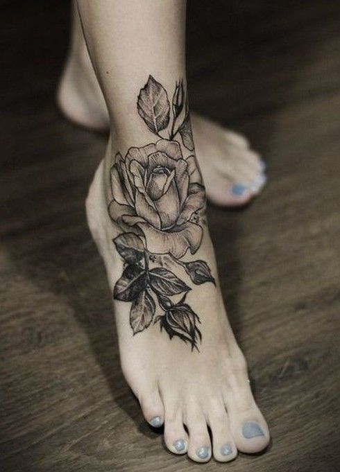 Black Rose tattoo, like the realism- but on my hip rather than foot