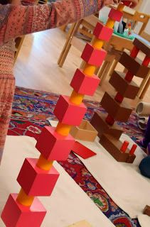 A wonderful photo of a creative extension using the Pink Tower and the Knobless Cylinders. This blog has many lovely shots of Montessori materials during day to day classroom work.