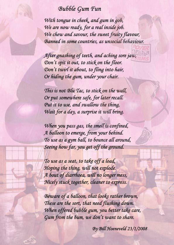 +family+friend+poems | Bubble Gum Fun - Funny Cute Poems ...
