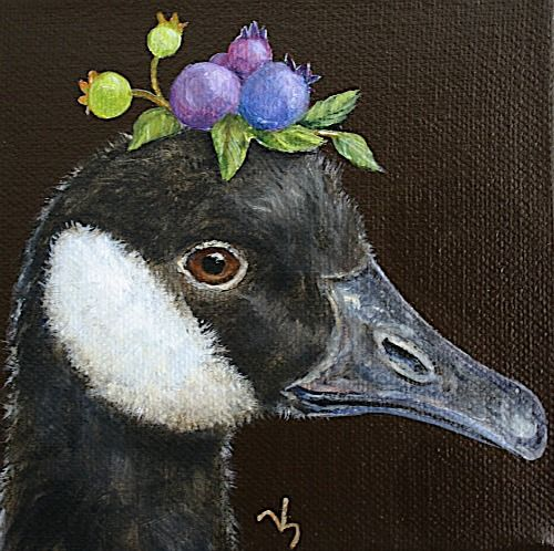 Vicki Sawyer Glenda Canada Goose With Blueberries 2013