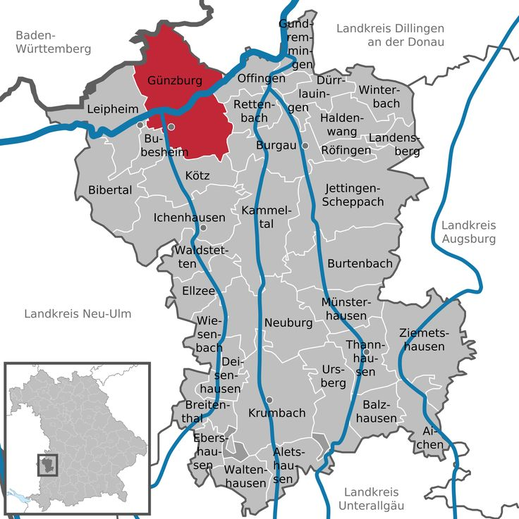Günzburgis aGroße Kreisstadtand capital ofthe district of GünzburginSwabia,Bavaria. This district was constituted in 1972 by combining the city of Günzburg—which had not previously been assigned to aKreis (district)—with the district of Günzburg and the district ofKrumbach.