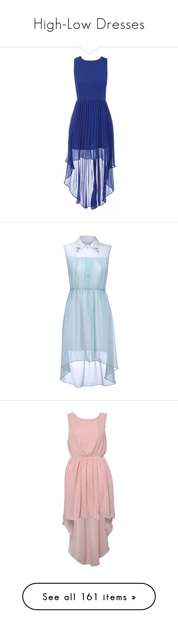"""High-Low Dresses"" by lulucosby ❤ liked on Polyvore featuring dresses, vestidos, blue, electric blue dress, blue dress, blue zipper dress, blue pleated dress, zipper dress, dip hem dresses and short front long back dress"