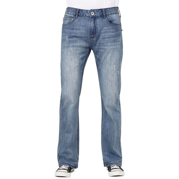 Men's Seven7 Parrot Slim-Fit Bootcut Jeans ($51) ❤ liked on Polyvore featuring men's fashion, men's clothing, men's jeans, light blue, mens zipper jeans, mens bootcut jeans, mens boot cut jeans, mens slim fit jeans and mens frayed hem jeans