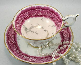 Coalport, Footed Teacup & Saucer,Dalemere Pattern, Gold Rims, Bone English China made in 1960s.