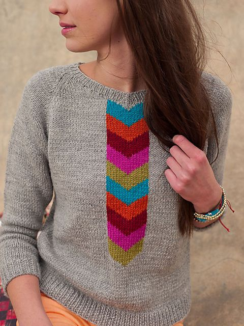 Ravelry: Emmanuelle Sweater pattern by Mercedes Tarasovich-Clark Love those chevrons.