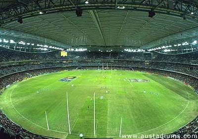 Docklands Stadium (Etihad Stadium).  They have baby care facilities with tv monitors so you can watch the game while you breastfeed (not the same as being in the crowd and hearing the roar).