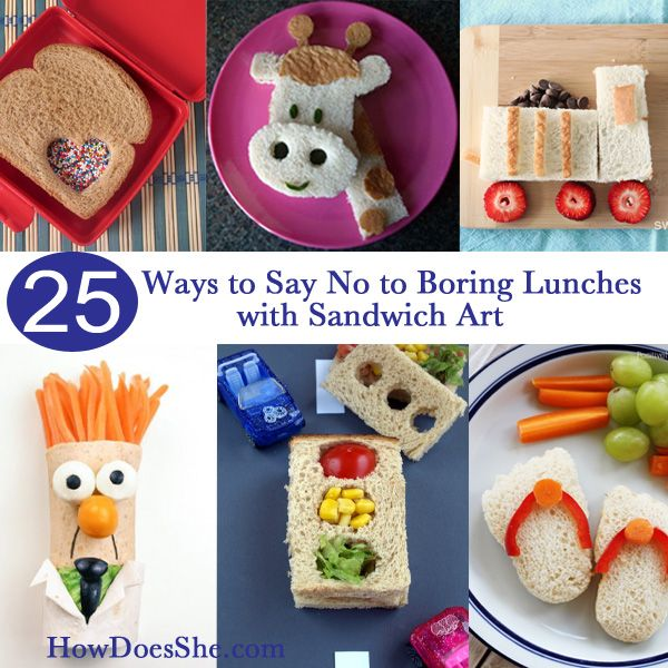 25 ways to say NO to boring lunches with Sandwich Art #howdoesshe #lunchesforkids howdoesshe.com
