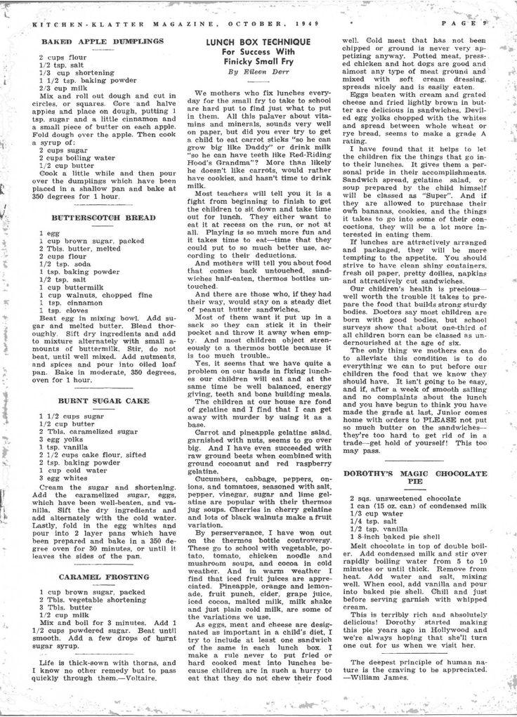 Kitchen Klatter Magazine, October 1949 - Baked Apple Dumplings, Butterscotch Spread, Burnt Sugar Cake, Caramel Frosting, School Lunch Box, Dorothy's Magic Chocolate Pie