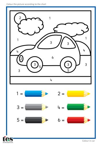 simple colour by numbers pictures with clear visuals fish and seahorse activities use four colours car activitiescolor by numberskids