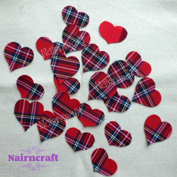 Scottish Hearts Applique Patches Red Scottish