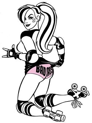 stickers,gag gifts,stocking stuffers,gift ideas forRoller Derby Sexy Pin-up Girl Sticker