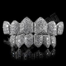 18K White Gold Plated High Quality CZ Top Bottom GRILLZ Teeth Mouth Grills