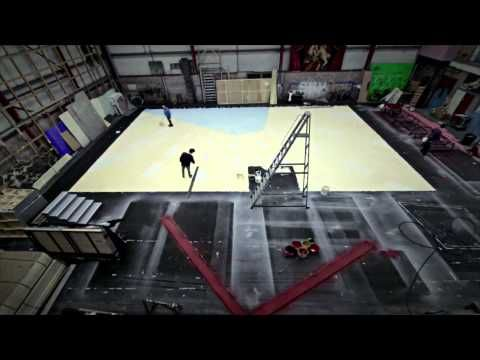 The Painting of a Scottish Opera Backcloth - YouTube