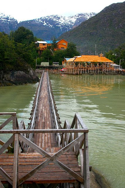 Caleta Tortel, city of the boardwalks. Patagonia, Chile