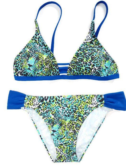 Mazu Leopard  Bikini M Animal Print Padded Blue Green New #Mazu #Bikini