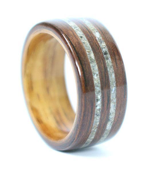 Rosewood Wedding Ring with Rosewood Liner & Granite Inlays