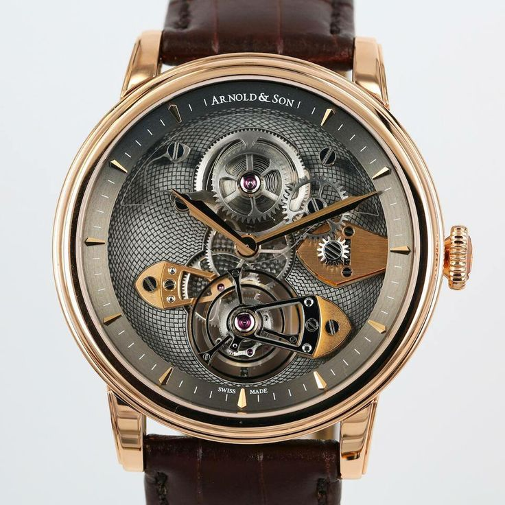 """Arnold and Son  TES (Tourbillon Escapement Sapphire), a new tourbillon with an """"inverted"""" movement fitted with a sapphire glass barrel bridge"""