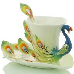 LOVE!   Porcelain Enamel Peacock Coffee Cup Set