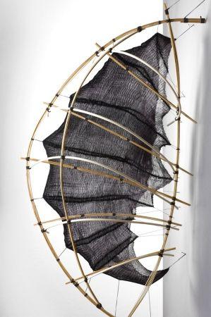 Mo Kelman: Penumbra, 2008, shibori dyed and shaped silk, bamboo. Mo Kelman is a…