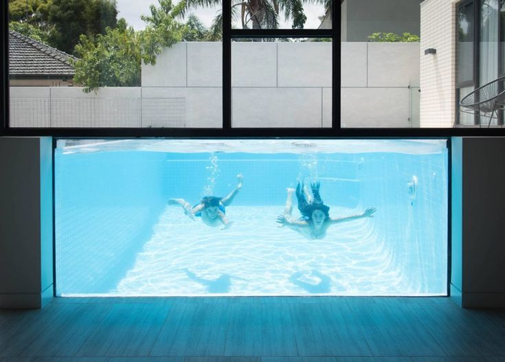 A Great Aboveground Pool With Glass Wall You Look Into The Living