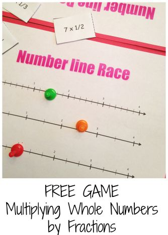 Free game to practice multiplying fractions and whole numbers on a number line.