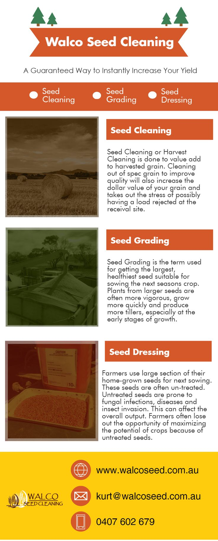 Seed cleaning is one of the most vital functions of farming. Many people wonder if they can skip the process of cleaning the seed and start sorting them instead. It is ideal that you undertake the process of cleaning the seed for better results. You can always hire a seed cleaning agency and relieve yourself of any unnecessary stress associated with post harvesting activities. Walco Seed cleaning service is one of the best seed cleaning services in Australia.